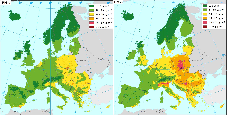 Mapa zanieczyszczeń cząstkami PM - dane średnioroczne, 2014 r.