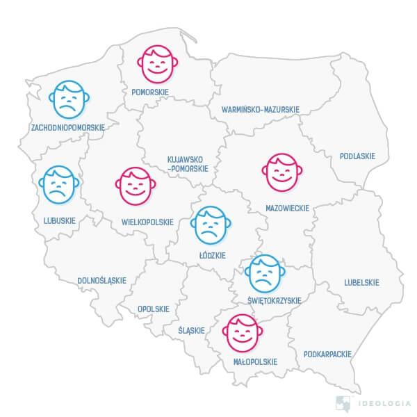 Najbardziej szczęśliwe i nieszczęśliwe województwa Polski