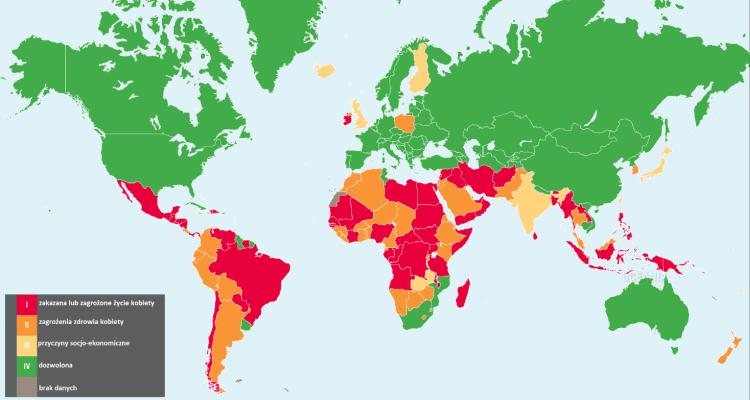 Ustawodawstwo aborcyjne na świecie - mapa