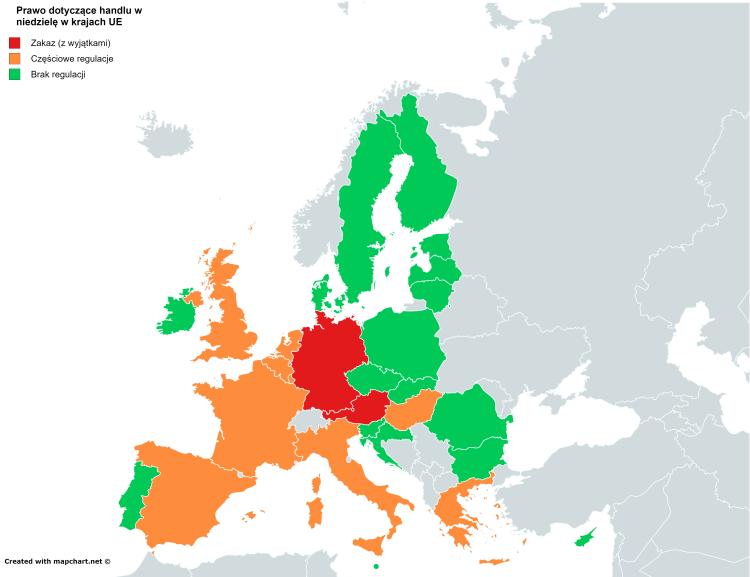 Handel w niedzielę w krajach UE - mapa