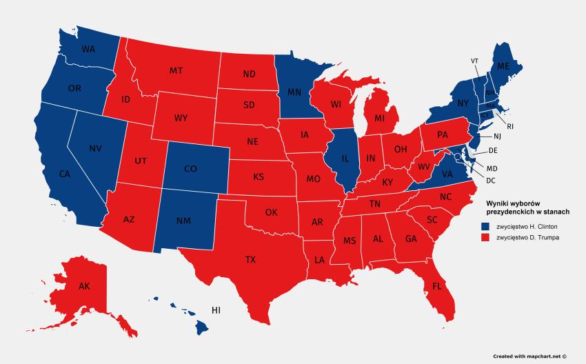 Wyniki wyborów prezydenckich w poszczególnych stanach USA