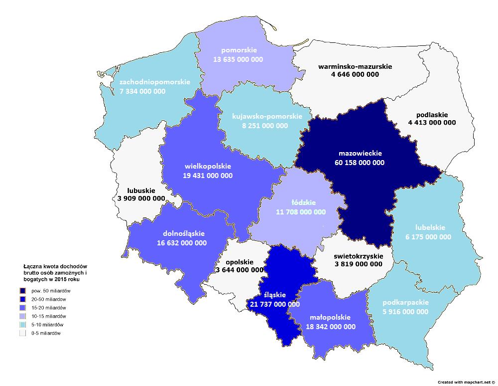 Łączna kwota dochodów brutto osób zamożnych i bogatych w 2015 roku w województwach.