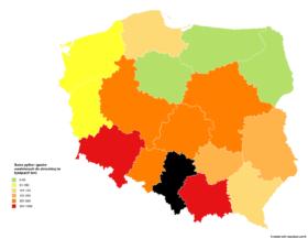 Suma pyłów i gazów emitowanych do atmosfery w ciągu roku w województwach (w tys. ton). Źródło: opracowanie własne na podstawie danych Eko Gajusz.