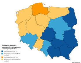 Układ sił w sejmikach wojewódzkich po wyborach parlamentarnych 2018.